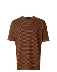 braunes horizontal gestreiftes T-Shirt mit einem Rundhalsausschnitt von Roberto Collina
