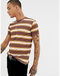 braunes horizontal gestreiftes T-Shirt mit einem Rundhalsausschnitt von Sacred Hawk
