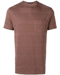 braunes horizontal gestreiftes T-Shirt mit einem Rundhalsausschnitt von The Gigi