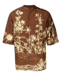 braunes Kurzarmhemd mit Blumenmuster von Salvatore Ferragamo