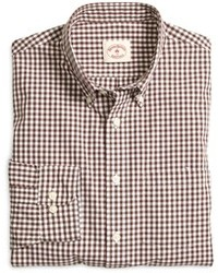 braunes Langarmhemd mit Vichy-Muster