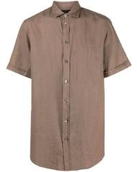 braunes Leinen Kurzarmhemd von Emporio Armani