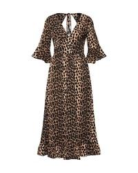 braunes Midikleid mit Leopardenmuster von Sisters Point