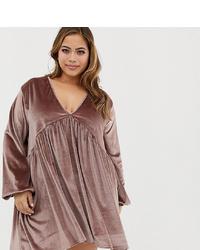 braunes Samt schwingendes Kleid von Rokoko Plus