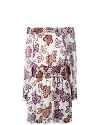 braunes schulterfreies Kleid mit Blumenmuster von Tory Burch