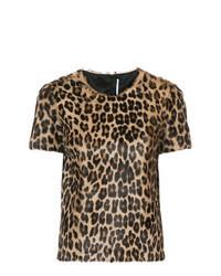 braunes T-Shirt mit einem Rundhalsausschnitt mit Leopardenmuster