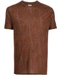 braunes T-Shirt mit einem Rundhalsausschnitt mit Paisley-Muster von Etro