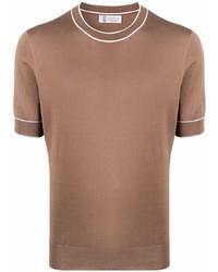 braunes T-Shirt mit einem Rundhalsausschnitt von Brunello Cucinelli