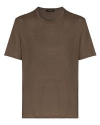 braunes T-Shirt mit einem Rundhalsausschnitt von Ermenegildo Zegna