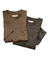 braunes T-Shirt mit einem Rundhalsausschnitt von Hubertus