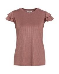 braunes T-Shirt mit einem Rundhalsausschnitt von mint&berry