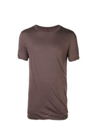 braunes T-Shirt mit einem Rundhalsausschnitt von Rick Owens