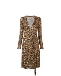 braunes Wickelkleid mit Leopardenmuster von Dvf Diane Von Furstenberg