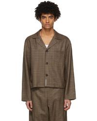 braunes Wolllangarmhemd mit Hahnentritt-Muster