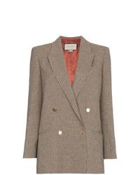 braunes Zweireiher-Sakko mit Hahnentritt-Muster von Gucci
