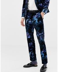 dunkelblaue Anzughose aus Samt mit Blumenmuster von Twisted Tailor