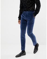 dunkelblaue Anzughose aus Samt