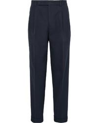 dunkelblaue Anzughose aus Seersucker