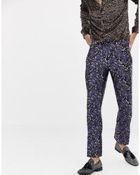 dunkelblaue Anzughose mit Blumenmuster von Twisted Tailor