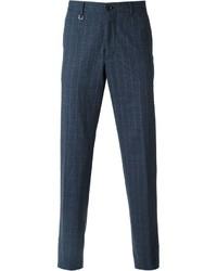 dunkelblaue Anzughose mit Karomuster