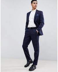 dunkelblaue Anzughose mit Karomuster von Burton Menswear
