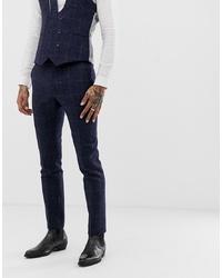 dunkelblaue Anzughose mit Karomuster von Twisted Tailor