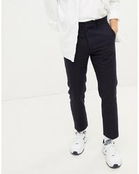 dunkelblaue Anzughose mit Karomuster von Weekday