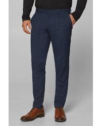 dunkelblaue Anzughose mit Schottenmuster von ESPRIT Collection