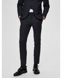 dunkelblaue Anzughose mit Schottenmuster von Selected Homme