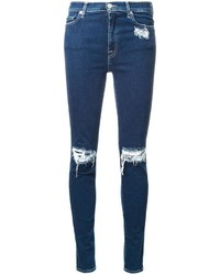 dunkelblaue Baumwolle enge Jeans mit Destroyed-Effekten von 7 For All Mankind
