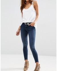 Dunkelblaue Baumwolle Enge Jeans von Asos