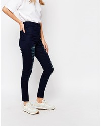 Dunkelblaue Baumwolle Enge Jeans von WÅVEN