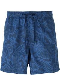 dunkelblaue bedruckte Badeshorts von Etro