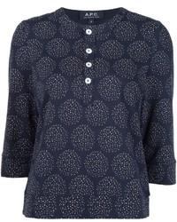 dunkelblaue bedruckte Bluse von A.P.C.