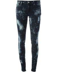 dunkelblaue bedruckte enge Jeans