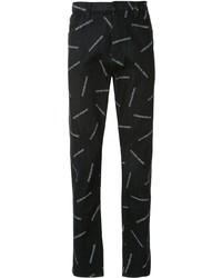 dunkelblaue bedruckte enge Jeans von Emporio Armani