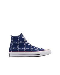 dunkelblaue bedruckte hohe Sneakers aus Segeltuch