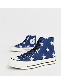 dunkelblaue bedruckte hohe Sneakers aus Segeltuch von Converse