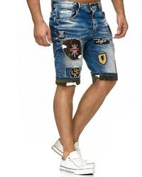 dunkelblaue bedruckte Jeansshorts von Redbridge