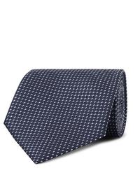 dunkelblaue bedruckte Krawatte von Ermenegildo Zegna