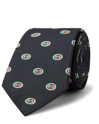 dunkelblaue bedruckte Krawatte von Gucci