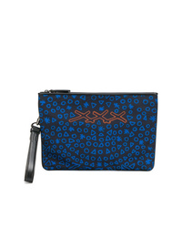 dunkelblaue bedruckte Leder Clutch Handtasche von Ermenegildo Zegna