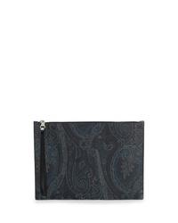 dunkelblaue bedruckte Leder Clutch Handtasche von Etro
