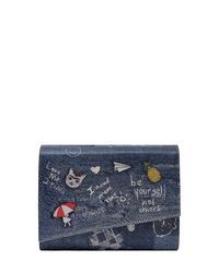 dunkelblaue bedruckte Leder Clutch von DOGO