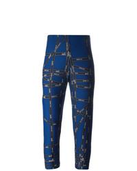dunkelblaue bedruckte Leggings von Hermès Vintage