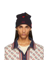 dunkelblaue bedruckte Mütze von Gucci
