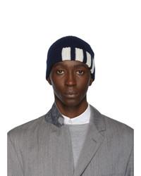 dunkelblaue bedruckte Mütze von Thom Browne