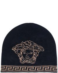 dunkelblaue bedruckte Mütze von Versace