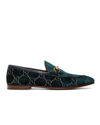 dunkelblaue bedruckte Samt Slipper von Gucci