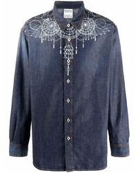 dunkelblaue bedruckte Shirtjacke aus Jeans von Marcelo Burlon County of Milan